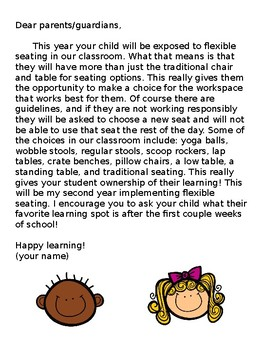 flexible seating parent letter *EDITABLE*