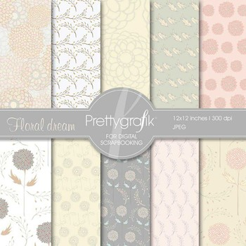 flowers digital paper, commercial use, scrapbook papers, background - PS536