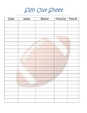 football theme student sign out sheet