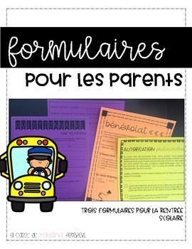 formulaires pour parents - rentrée scolaire