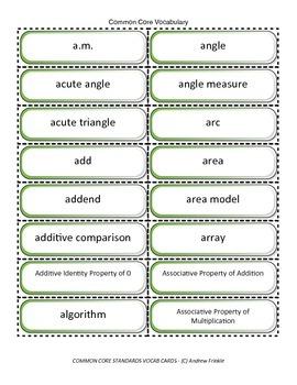 fourth grade common core standards vocabulary cards Math ELA