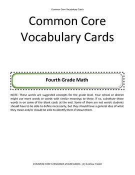 fourth grade common core standards vocabulary cards Math ELA