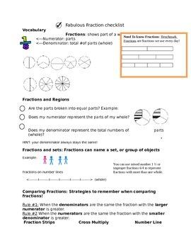 fraction checklist