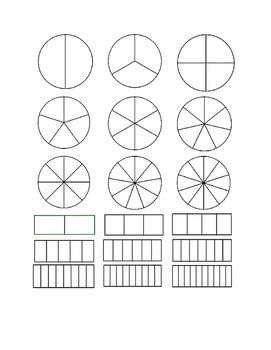 fraction models bundle (circle and rectangle)