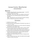fractions - Improper Fraction / Mixed Number Concentration Game