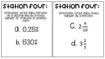 Fractions, Percents, and Decimals Math Stations