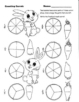 fractions and bunnies fill in and color worksheet