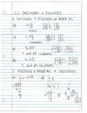 fractions decimals and percents notes by section