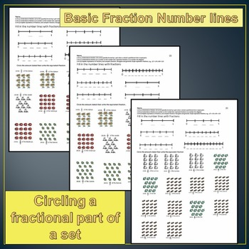 fractions number line and parts of a set