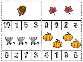 Fall Count and Clip Numerals 1-10 spookydollardeals