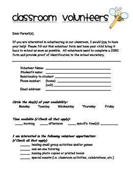 free Classroom Volunteer Form