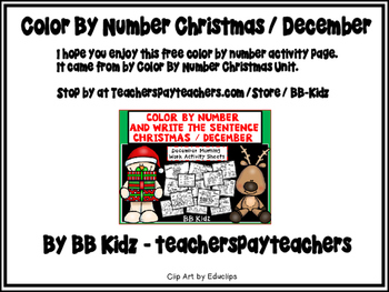 Free Color by Number Christmas Reindeer Page
