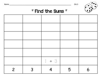free Find the Sums (2-12) Game
