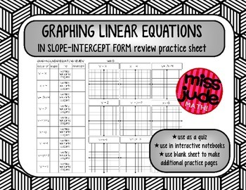 free GRAPH LINEAR EQUATIONS in slope-intercept form [review, quiz or IN]