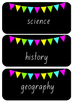 FREE! Black and bright classroom supply labels!