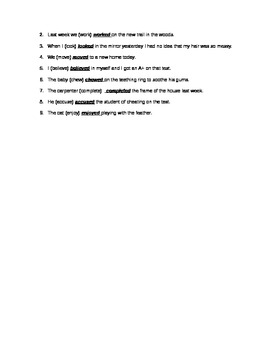 free verb tense worksheet adding ed and d