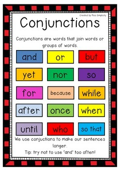 freebie CONJUNCTIONS poster- 1 page color poster – great reference for writing!