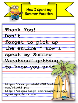 freebie!  How I spent my Summer Vacation