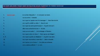 french francais grammar grammaire REVIEW - PC, présent, adjectives .....