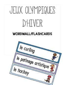 french winter olympic flashcards/wordwall / Jeux olympics d'hiver en francais