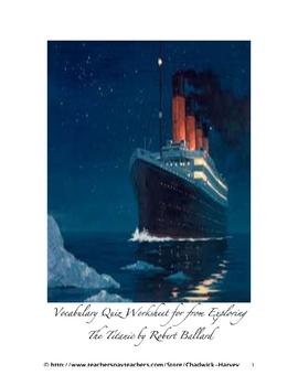 from Exploring The Titanic Vocabulary Quiz Worksheet