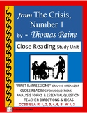 from Paine's The Crisis Number 1, Close Reading