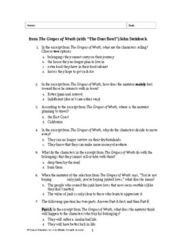 """from The Grapes of Wrath (with """"The Dust Bowl"""")John Steinbeck Test (modified)"""