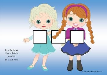 frozen princess themed preschool/ prek learning pack, english, math