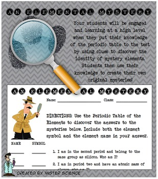 fun elemental mystery activity element periodic table atom