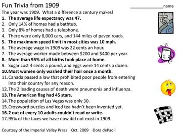 fun trivia from 1909