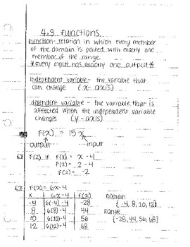 functions notes by section