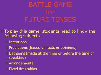 Battle Game for future tenses (moderate mode)