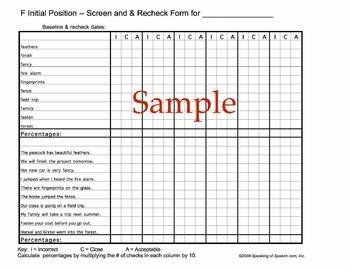 /f,v/ Artic-U-Check data forms for baseline and progress m