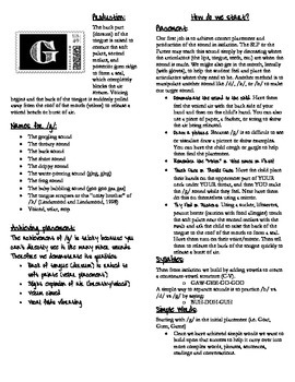 /g/ Prouction Handout for Parents