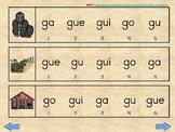 ga gue gui go gu  silabas iniciales y mediales