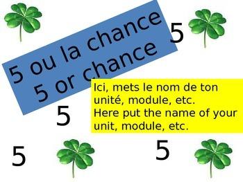 Game 5 or chance Jeu 5 ou la chance