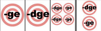 ge, dge (the /j/ sound at the end of words) spelling target game