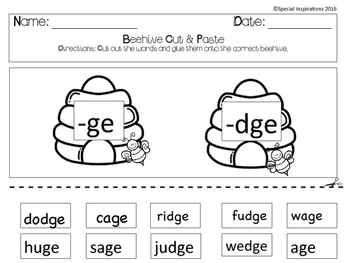 ge or dge? Phonics Literacy Center Beehive/Spring Themed