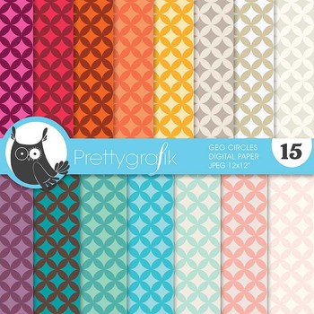 geometric circles digital paper, commercial use, scrapbook papers - PS633