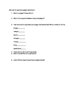 geometry polygons worksheet CCSS 2.G.A.1, 3.G.A.1,4.G.A.2, 5.G.A.2, 5th OK 3.1