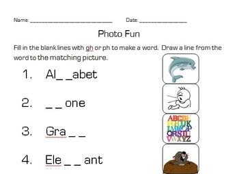 gh ph /f/ digraph worksheet