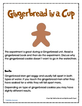 Gingerbread in a cup experiment and data sheet