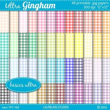 gingham digital paper in 48 colors