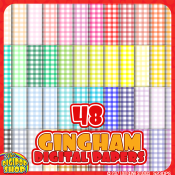 """gingham pattern digital paper in 48 colors for spring - background .jpg 12""""x12"""""""