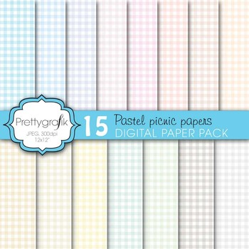 gingham picnic pattern digital paper, commercial use, scra
