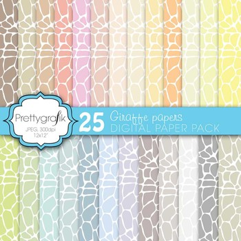 giraffe digital paper, commercial use, scrapbook papers, background - PS592