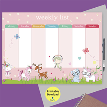 photograph relating to Weekly Schedule Printable identified as lady every day timetable, program,Weekly planner Printable,Weekly Organiser ,crimson