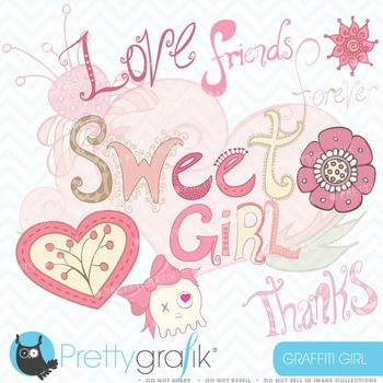 girl graffiti clipart commercial use, vector graphics, digital clip art - CL415
