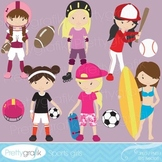 girl sports clipart commercial use, vector graphics, digital clip art - CL519