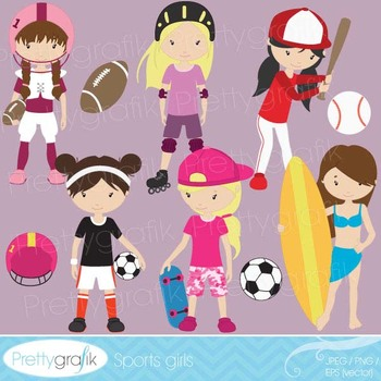 girl sports clipart commercial use, vector graphics, digit